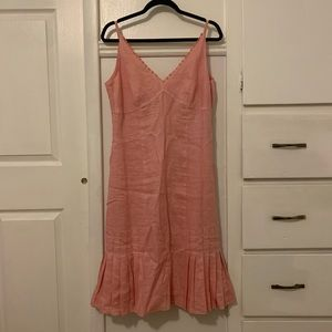 Anne Taylor Pink Pleated Linen Dress